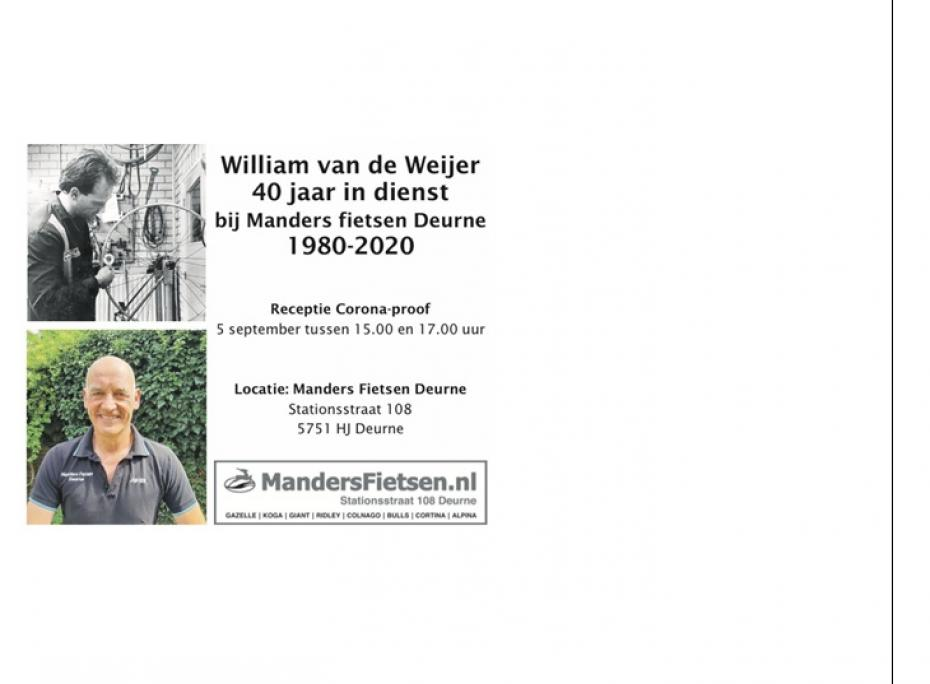 Jubileum William van de Weijer